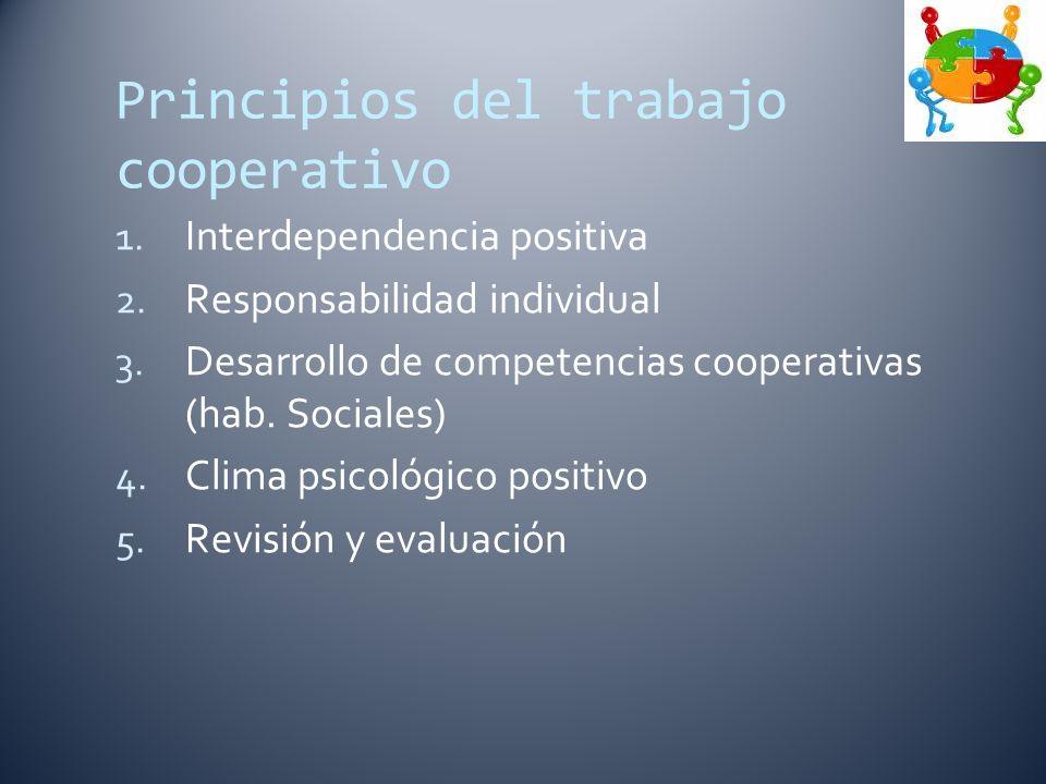 Principios del trabajo cooperativo 1. Interdependencia positiva 2.