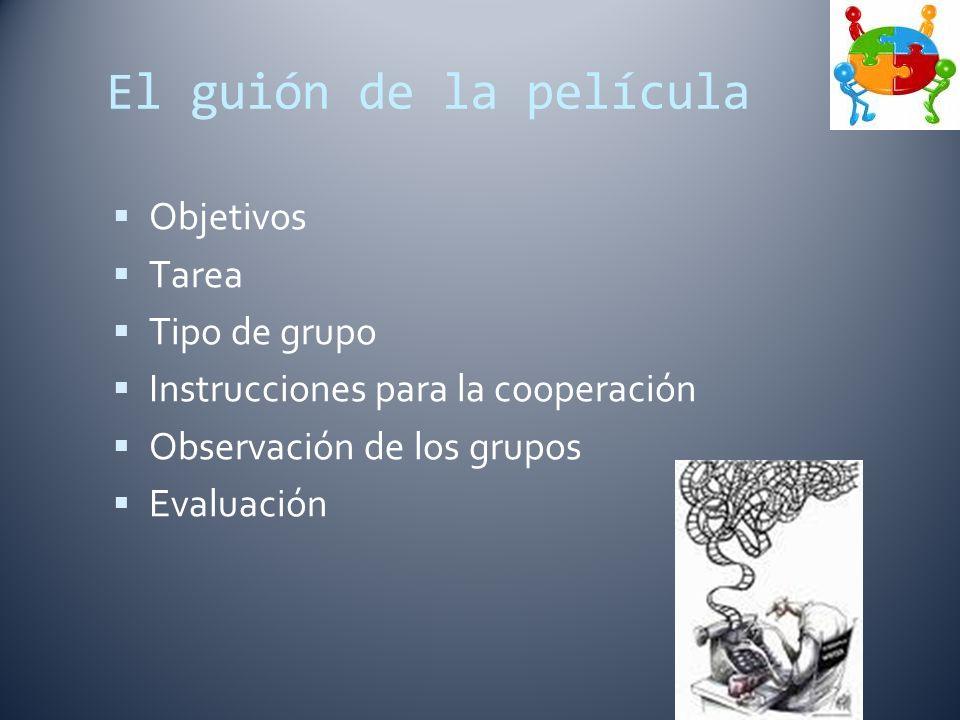 El guión de la película Objetivos Tarea Tipo de grupo Instrucciones para la cooperación Observación de los grupos Evaluación
