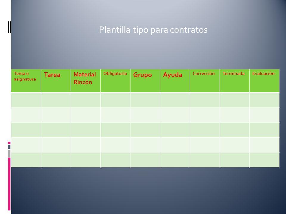 Tema o asignatura Tarea Material Rincón Obligatoria GrupoAyuda CorrecciónTerminadaEvaluación Plantilla tipo para contratos