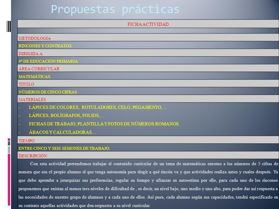 Propuestas prácticas FICHA ACTIVIDAD METODOLOGÍA RINCONES Y CONTRATOS DIRIGIDA A 4º DE EDUCACIÓN PRIMARIA ÁREA CURRICULAR MATEMÁTICAS.