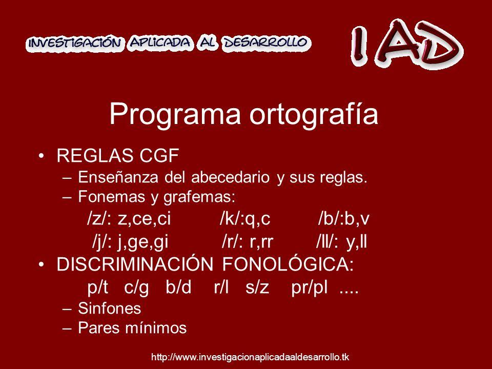 Programa ortografía REGLAS CGF –Enseñanza del abecedario y sus reglas.