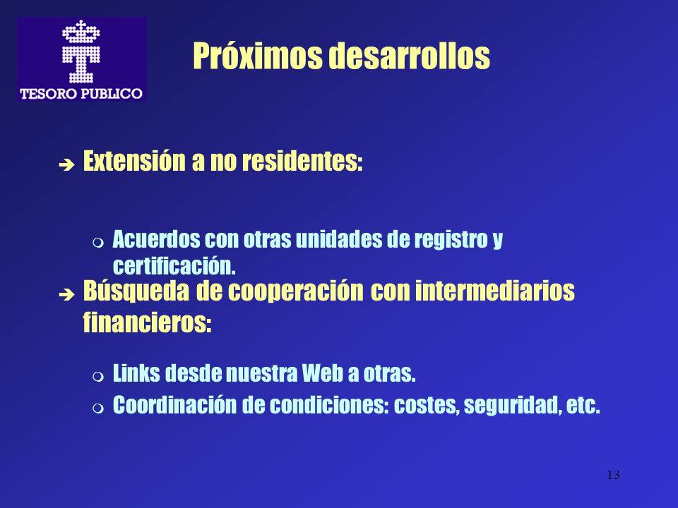 13 Próximos desarrollos Extensión a no residentes: Acuerdos con otras unidades de registro y certificación. Búsqueda de cooperación con intermediarios