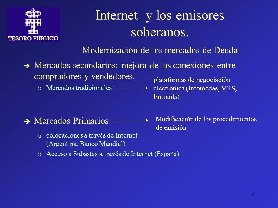 2 Internet y los emisores soberanos. Modernización de los mercados de Deuda Mercados secundarios: mejora de las conexiones entre compradores y vendedo