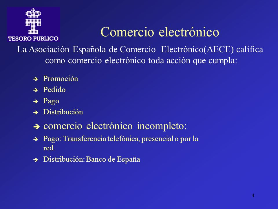 4 Comercio electrónico Promoción Pedido Pago Distribución comercio electrónico incompleto: Pago: Transferencia telefónica, presencial o por la red. Di