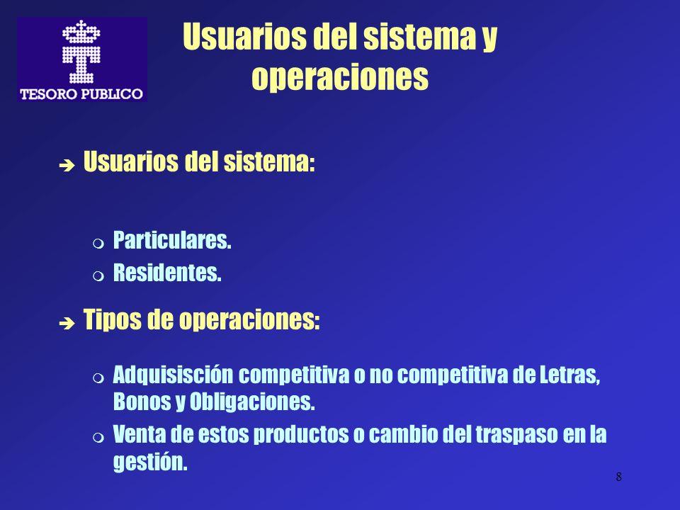 8 Usuarios del sistema y operaciones Usuarios del sistema: Particulares. Residentes. Tipos de operaciones: Adquisisción competitiva o no competitiva d