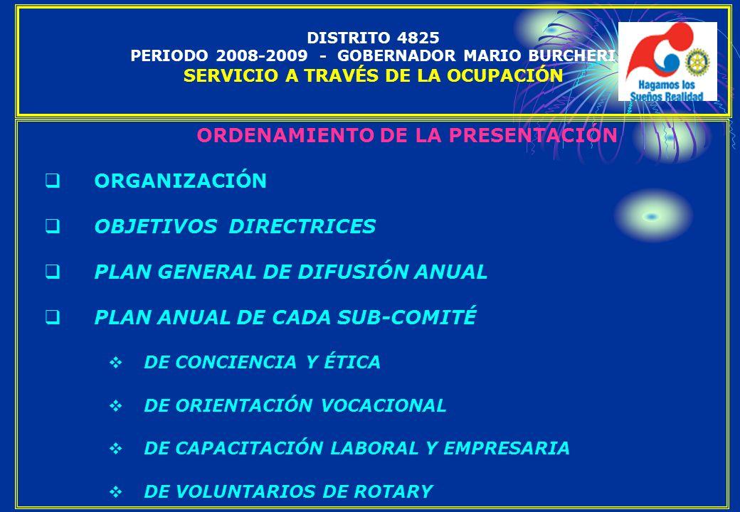 ORDENAMIENTO DE LA PRESENTACIÓN ORGANIZACIÓN OBJETIVOS DIRECTRICES PLAN GENERAL DE DIFUSIÓN ANUAL PLAN ANUAL DE CADA SUB-COMITÉ DE CONCIENCIA Y ÉTICA