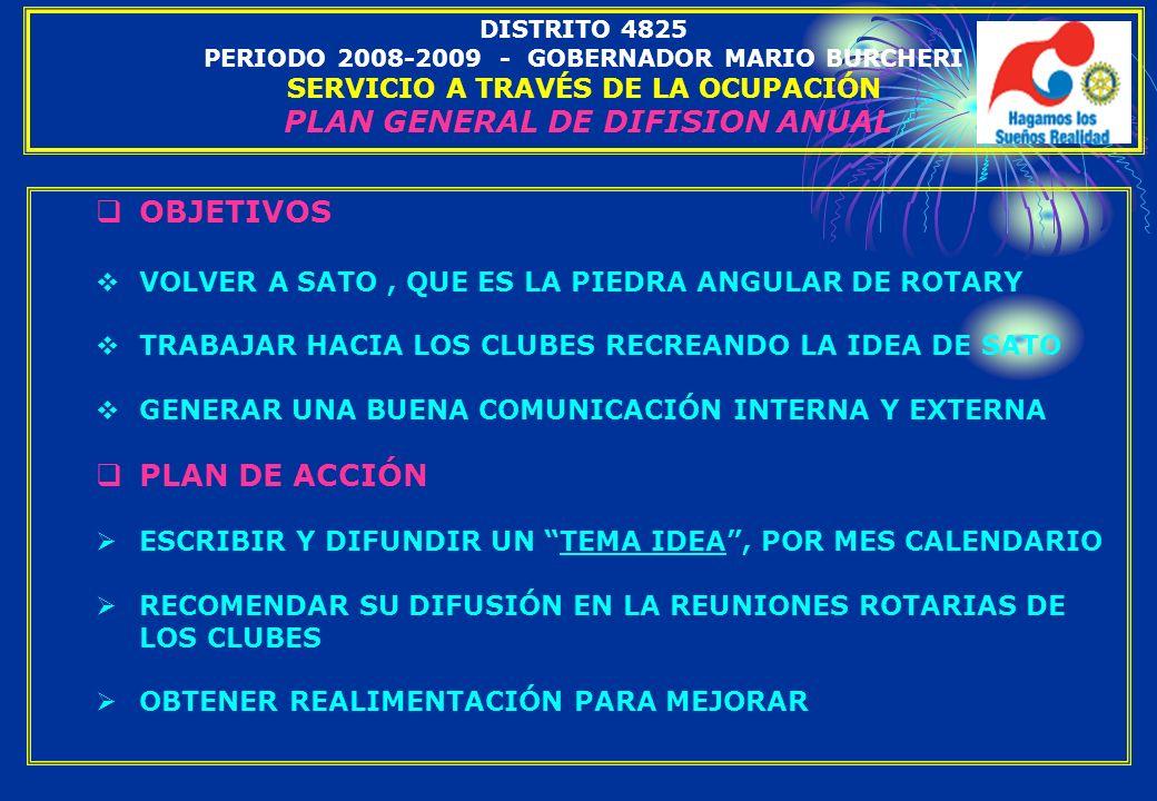 DISTRITO 4825 PERIODO 2008-2009 - GOBERNADOR MARIO BURCHERI SERVICIO A TRAVÉS DE LA OCUPACIÓN PLAN GENERAL DE DIFISION ANUAL OBJETIVOS VOLVER A SATO,