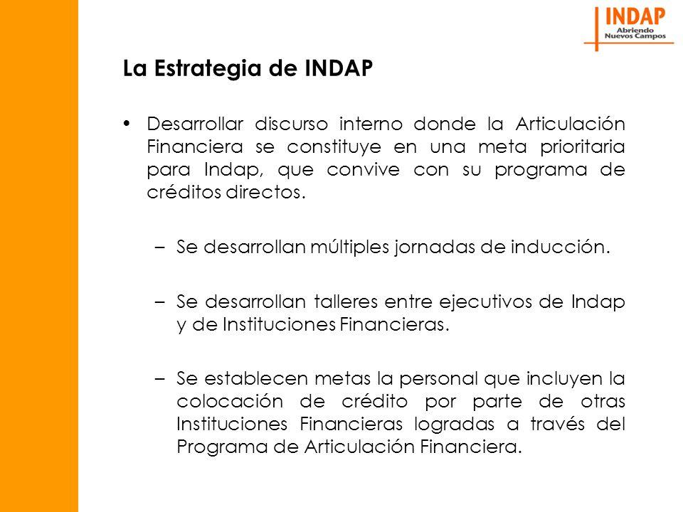 La Estrategia de INDAP Desarrollar discurso interno donde la Articulación Financiera se constituye en una meta prioritaria para Indap, que convive con su programa de créditos directos.