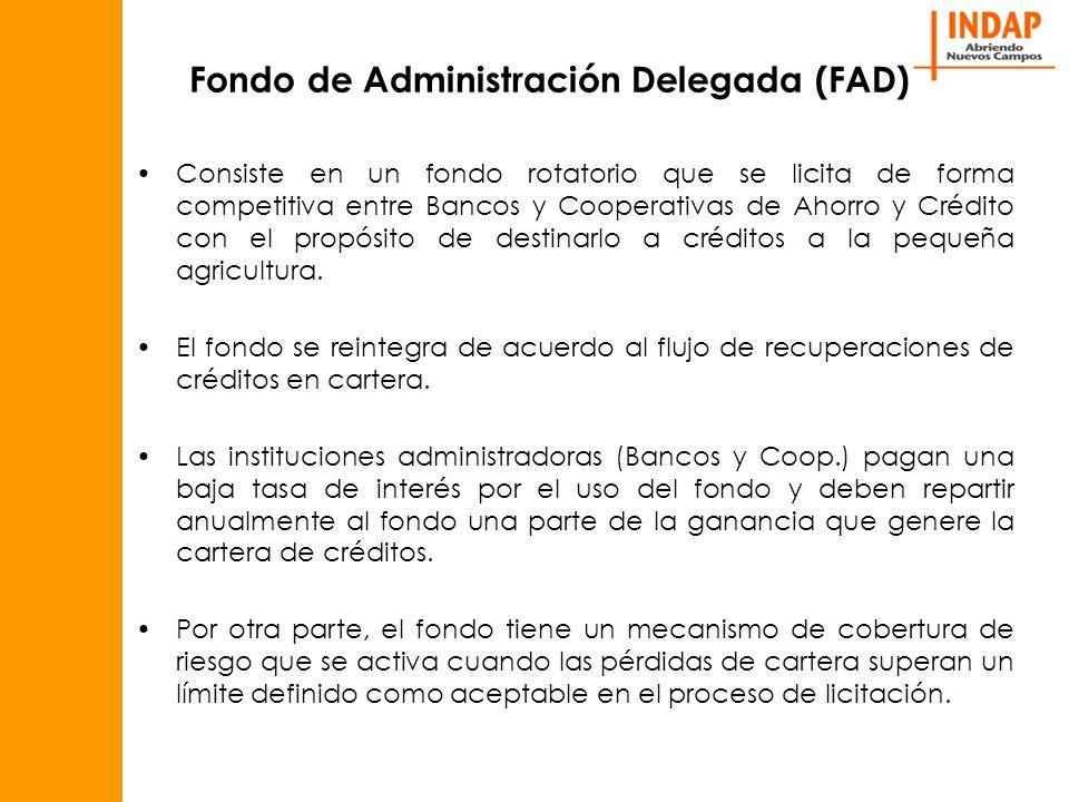 Fondo de Administración Delegada (FAD) Consiste en un fondo rotatorio que se licita de forma competitiva entre Bancos y Cooperativas de Ahorro y Crédito con el propósito de destinarlo a créditos a la pequeña agricultura.