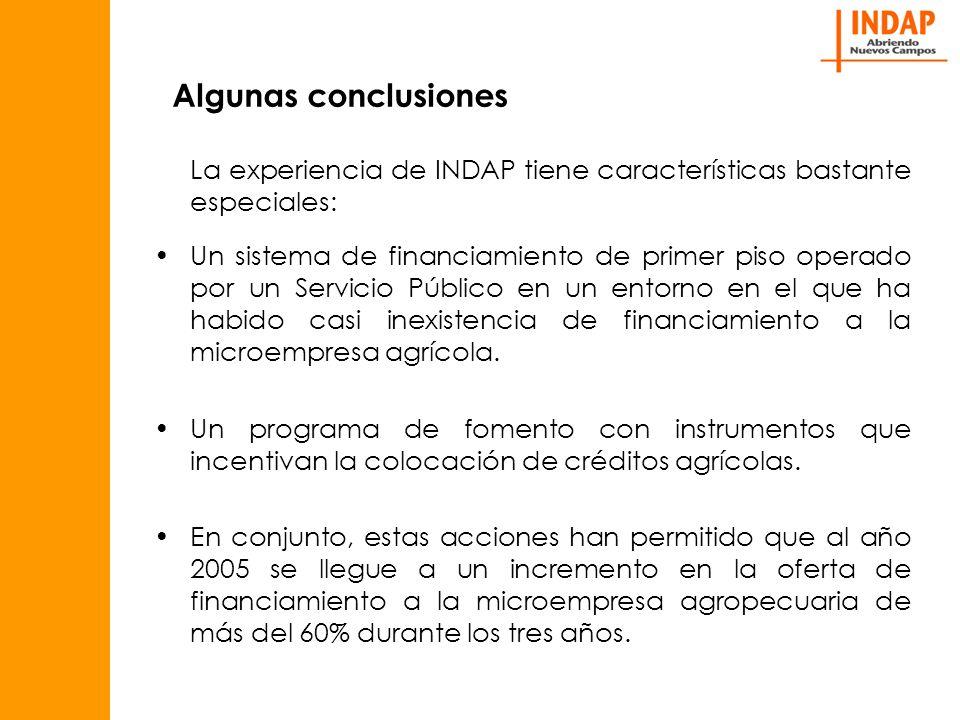 Algunas conclusiones La experiencia de INDAP tiene características bastante especiales: Un sistema de financiamiento de primer piso operado por un Servicio Público en un entorno en el que ha habido casi inexistencia de financiamiento a la microempresa agrícola.