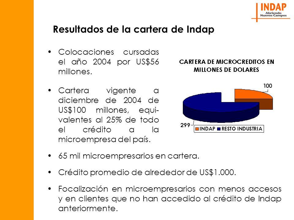 Resultados de la cartera de Indap Colocaciones cursadas el año 2004 por US$56 millones.