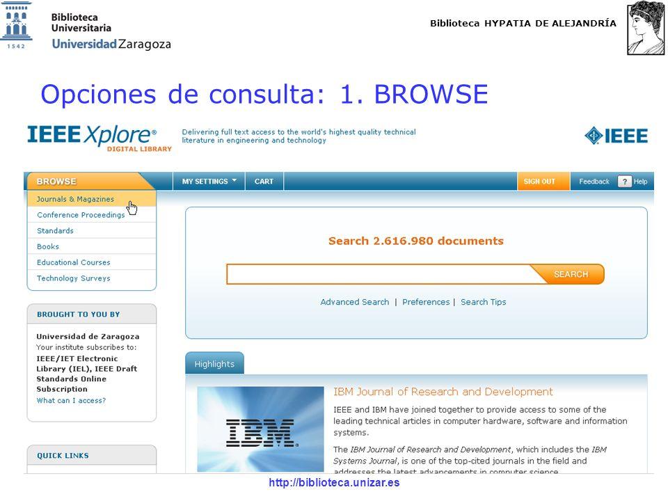 Biblioteca HYPATIA DE ALEJANDRÍA http://biblioteca.unizar.es Opciones de consulta: 1. BROWSE
