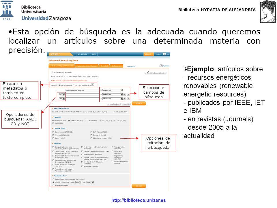 Biblioteca HYPATIA DE ALEJANDRÍA http://biblioteca.unizar.es Esta opción de búsqueda es la adecuada cuando queremos localizar un artículos sobre una determinada materia con precisión.