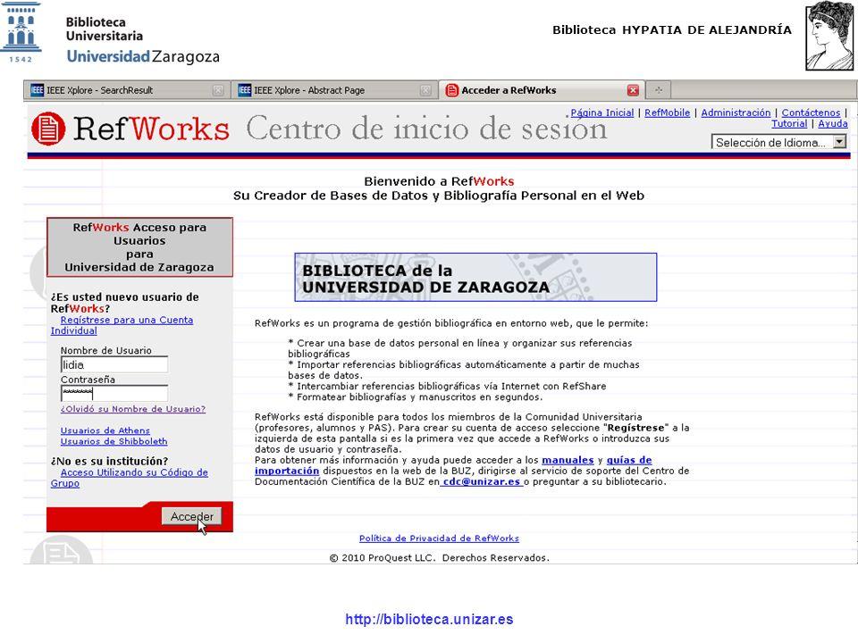 Biblioteca HYPATIA DE ALEJANDRÍA http://biblioteca.unizar.es