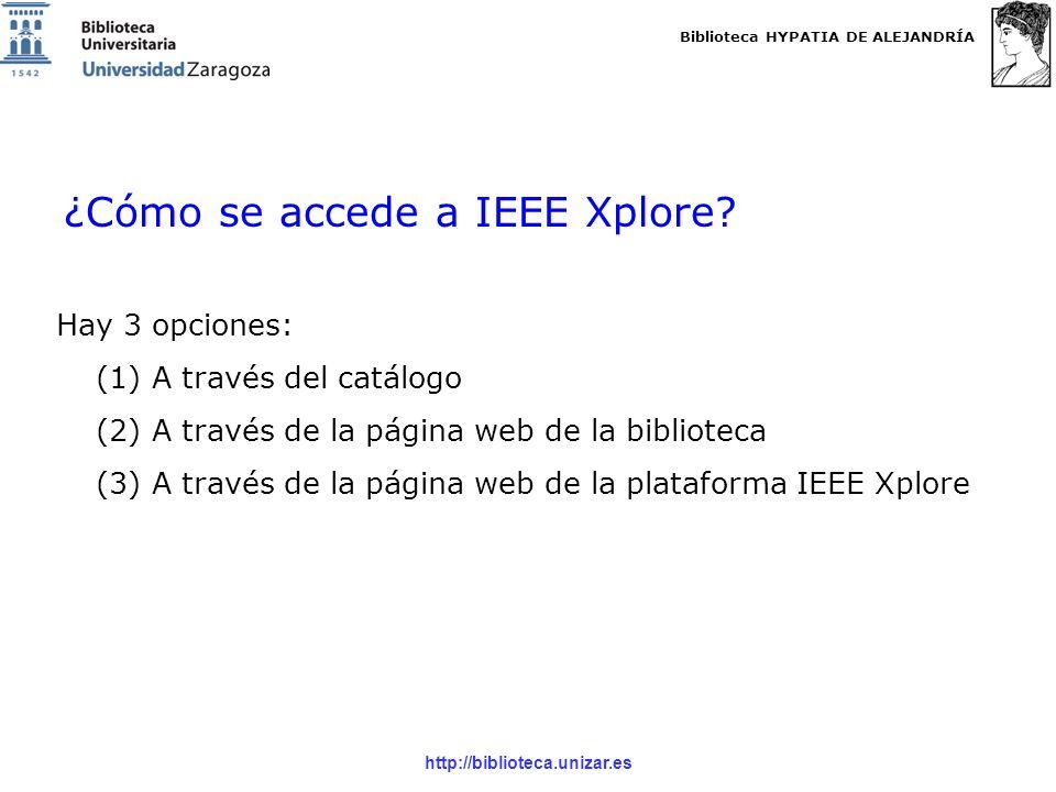 Biblioteca HYPATIA DE ALEJANDRÍA http://biblioteca.unizar.es (1) A través del catálogo: http://roble.unizar.es/http://roble.unizar.es/