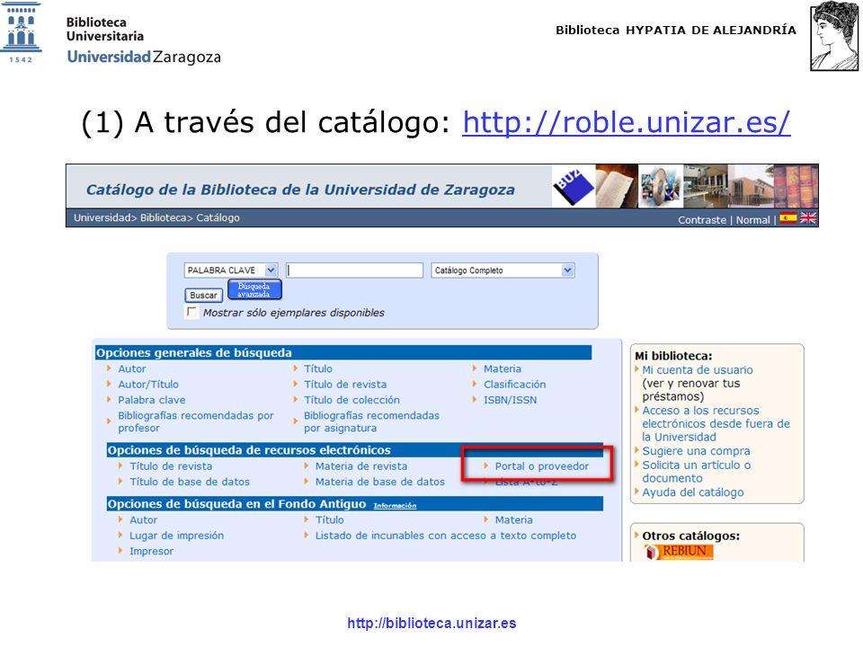 Biblioteca HYPATIA DE ALEJANDRÍA http://biblioteca.unizar.es Seleccionas el formato del fichero: -Plain Text: texto plano -BibTex: lo mismo, pero con etiquetas de campo -Refworks: te activa directamente la página de Refworks -EndNote, ProCite, Refman Seleccionas la información bibliográfica a incluir: -Sólo la cita bibliográfica -Cita bibliográfica y resumen IMPORTANTE: no permite seleccionar en más de una página a la vez.