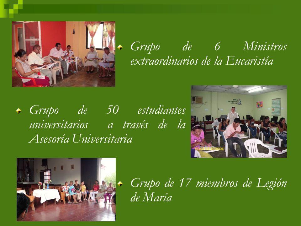 Grupo de 9 Asesores de la Infancia Misionera y aproximadamente 70 niños que participan de la misma Grupo de 25 asambleístas y aproximadamente 16 a 20 personas en las Asambleas Familiares Sectoriales.