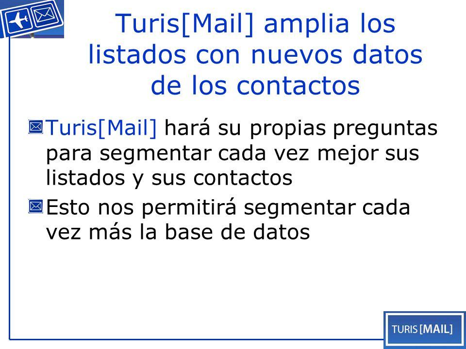 Turis[Mail] amplia los listados con nuevos datos de los contactos Turis[Mail] hará su propias preguntas para segmentar cada vez mejor sus listados y sus contactos Esto nos permitirá segmentar cada vez más la base de datos