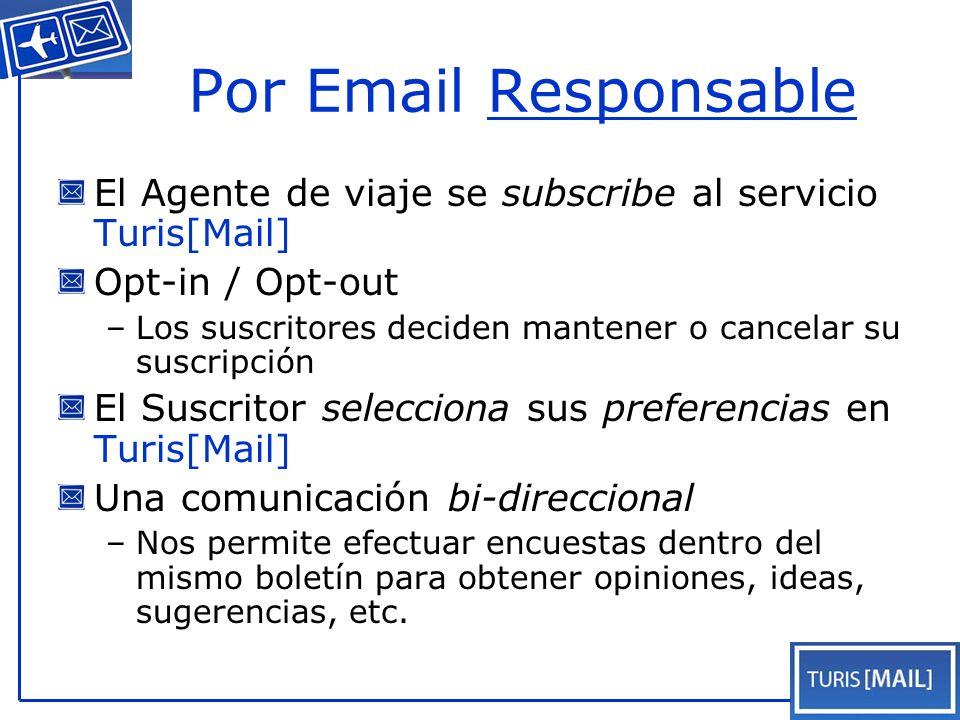 Por Email Responsable El Agente de viaje se subscribe al servicio Turis[Mail] Opt-in / Opt-out –Los suscritores deciden mantener o cancelar su suscripción El Suscritor selecciona sus preferencias en Turis[Mail] Una comunicación bi-direccional –Nos permite efectuar encuestas dentro del mismo boletín para obtener opiniones, ideas, sugerencias, etc.