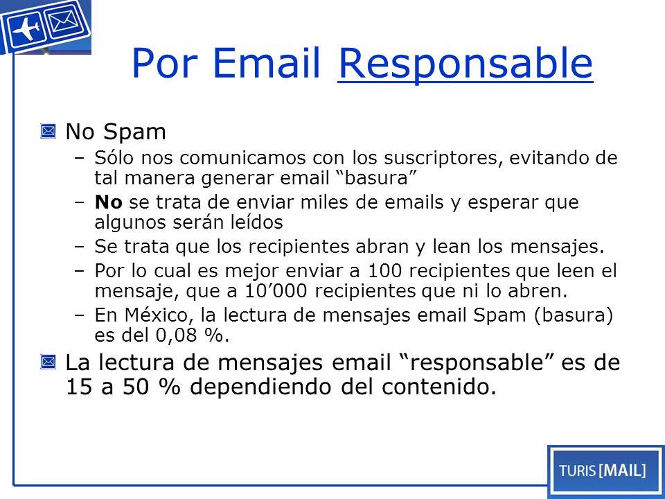 Listados al día Turis[Mail] agrega continuamente nuevos agentes de viajes Turis[Mail] pide a los agentes de viajes de poner sus datos al día Turis[Mail] pide opiniones, hace encuestas y se comunica de forma bi-direccional Turis[Mail] amplia la Base de Datos con nuevos datos de los contactos