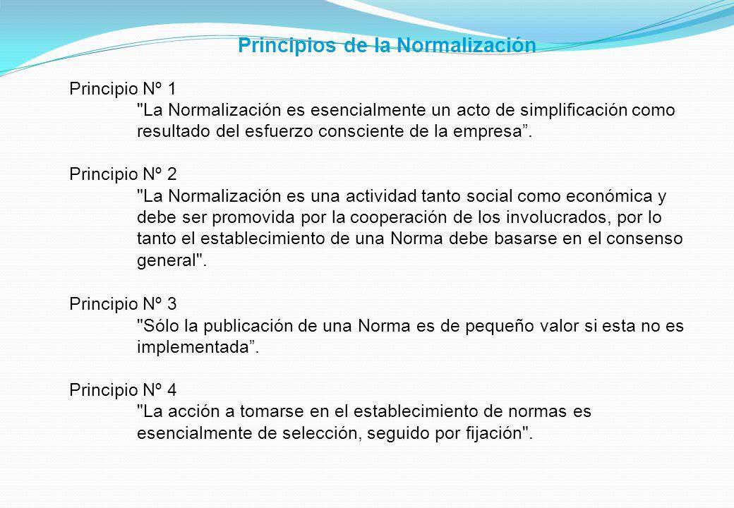 Principios de la Normalización Principio Nº 1 La Normalización es esencialmente un acto de simplificación como resultado del esfuerzo consciente de la empresa.