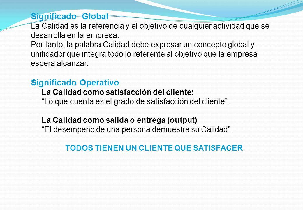 Significado Global La Calidad es la referencia y el objetivo de cualquier actividad que se desarrolla en la empresa.