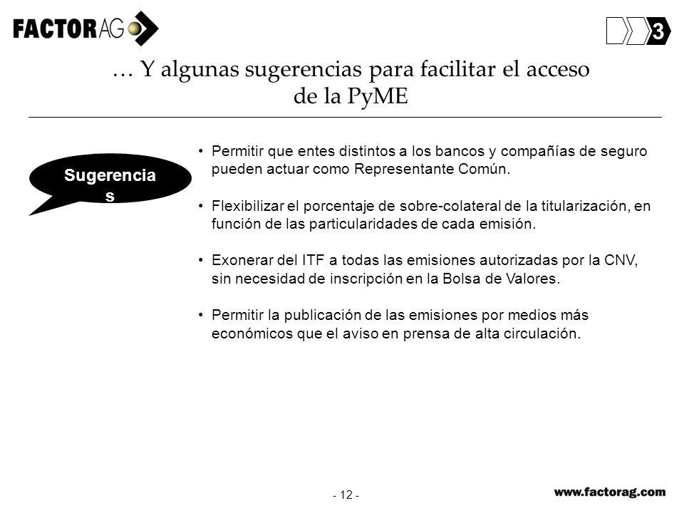 - 12 - … Y algunas sugerencias para facilitar el acceso de la PyME Permitir que entes distintos a los bancos y compañías de seguro pueden actuar como