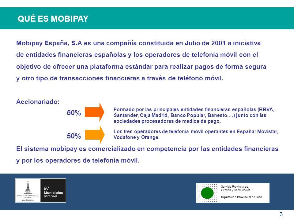Servicio Provincial de Gestión y Recaudación Diputación Provincial de Jaén 4 QUÉ ES MOBIPAY MOBIPAY es la plataforma española estándar para realizar pagos y otras transacciones de forma segura a través de nuestro teléfono móvil.