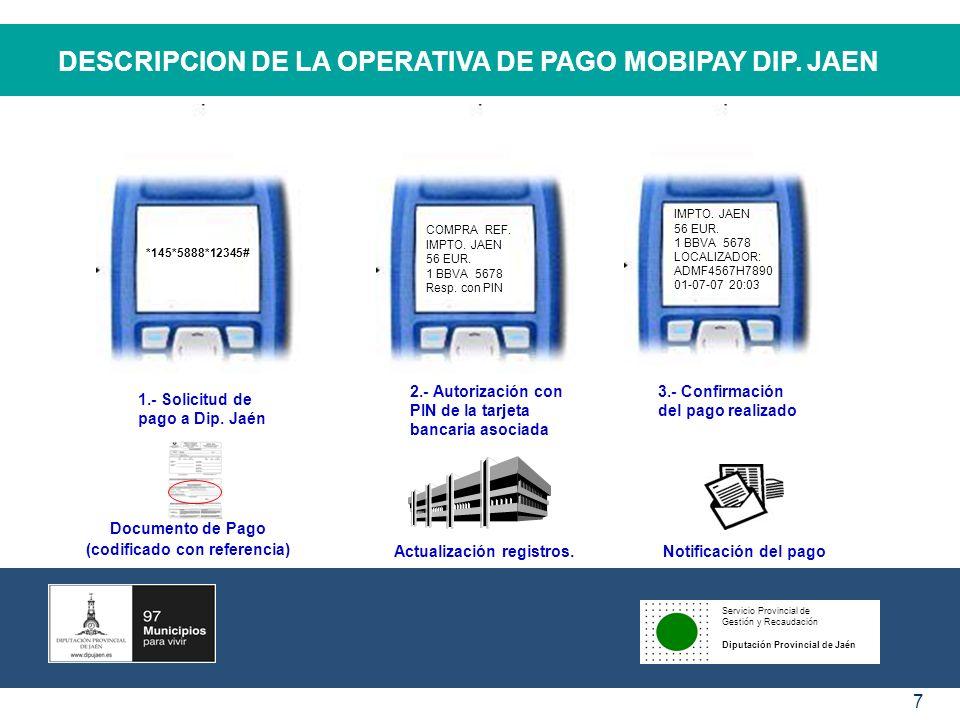 Servicio Provincial de Gestión y Recaudación Diputación Provincial de Jaén 7 DESCRIPCION DE LA OPERATIVA DE PAGO MOBIPAY DIP. JAEN IMPTO. JAEN 56 EUR.