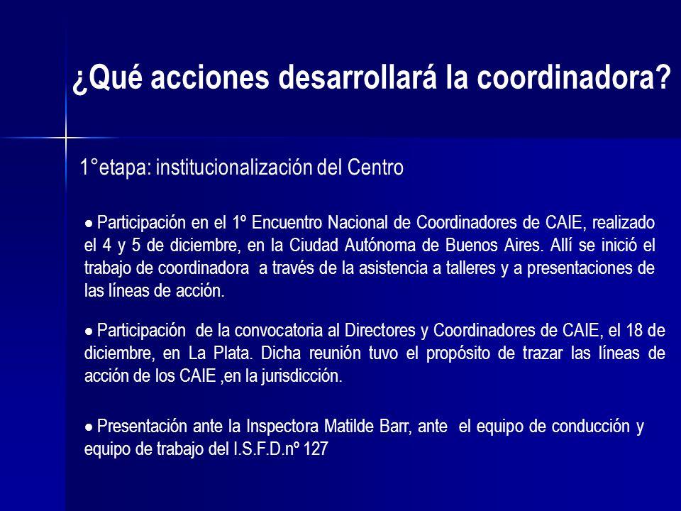 ¿Qué acciones desarrollará la coordinadora? 1°etapa: institucionalización del Centro Participación en el 1º Encuentro Nacional de Coordinadores de CAI