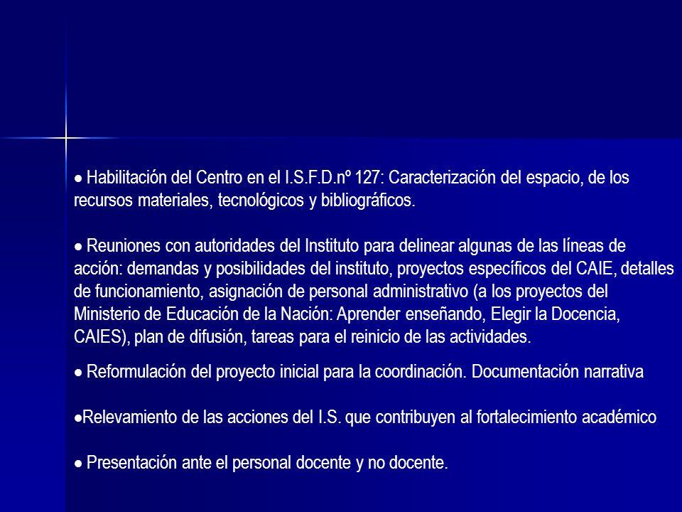 Habilitación del Centro en el I.S.F.D.nº 127: Caracterización del espacio, de los recursos materiales, tecnológicos y bibliográficos. Reuniones con au