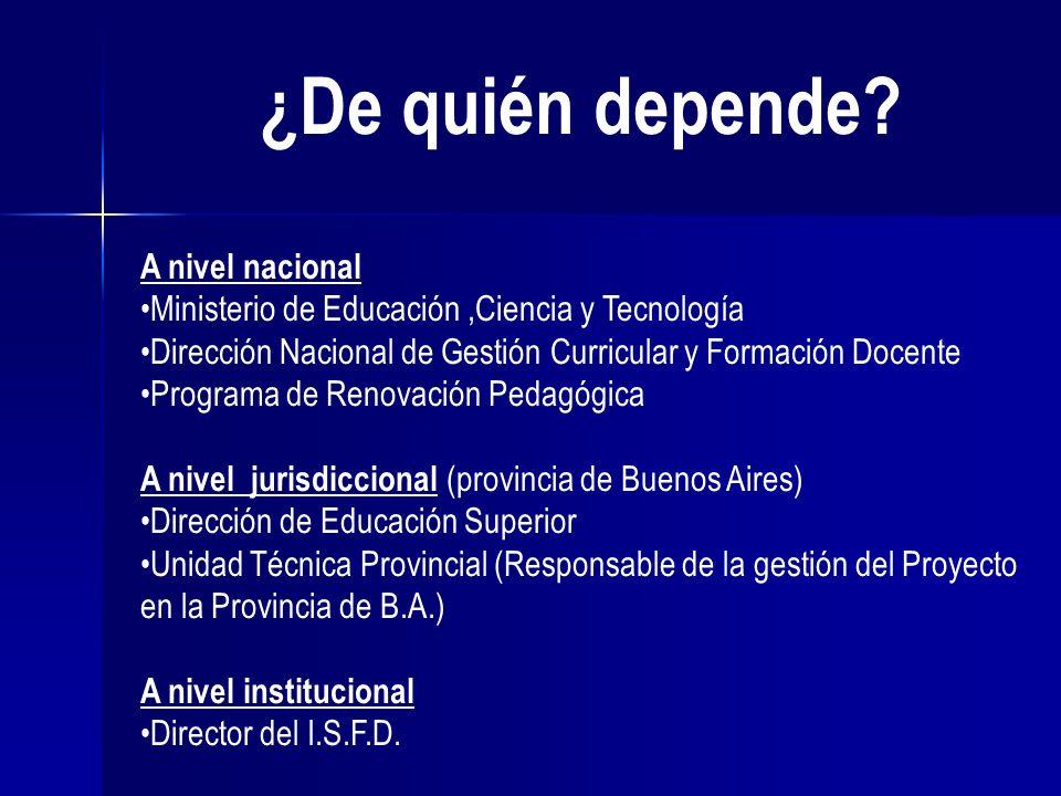 ¿De quién depende? A nivel nacional Ministerio de Educación,Ciencia y Tecnología Dirección Nacional de Gestión Curricular y Formación Docente Programa