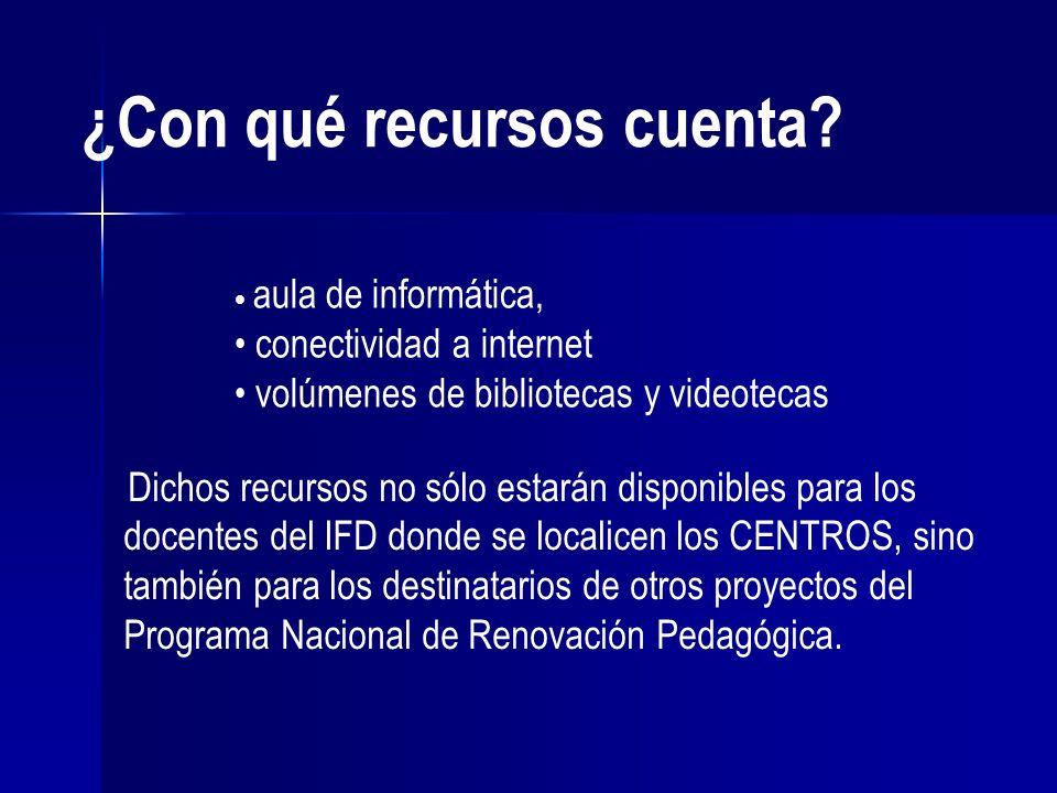 ¿Con qué recursos cuenta? aula de informática, conectividad a internet volúmenes de bibliotecas y videotecas Dichos recursos no sólo estarán disponibl