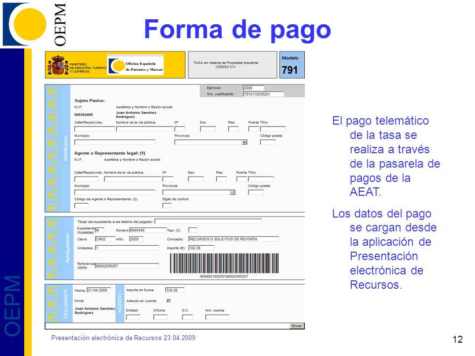 12 OEPM Forma de pago El pago telemático de la tasa se realiza a través de la pasarela de pagos de la AEAT. Los datos del pago se cargan desde la apli