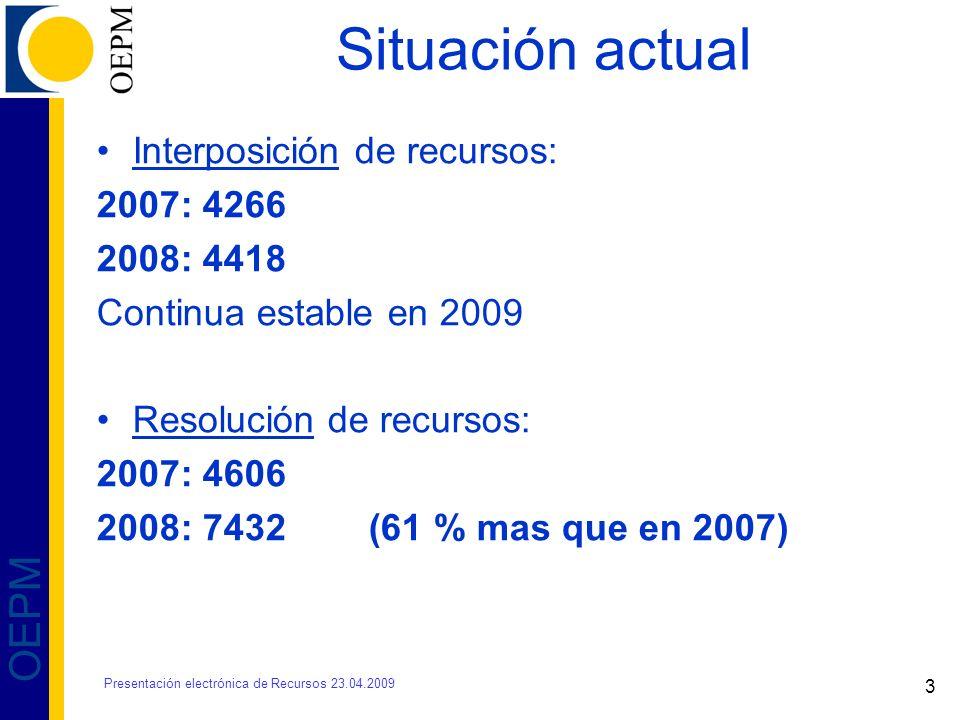 4 OEPM 2008- 2009 PLAZOS MEDIOS DE RESOLUCIÓN DE RECURSOS DE FECHA DE INTERPOSICIÓN HASTA FECHA PUBLICACIÓN BOPI Presentación electrónica de Recursos 23.04.2009