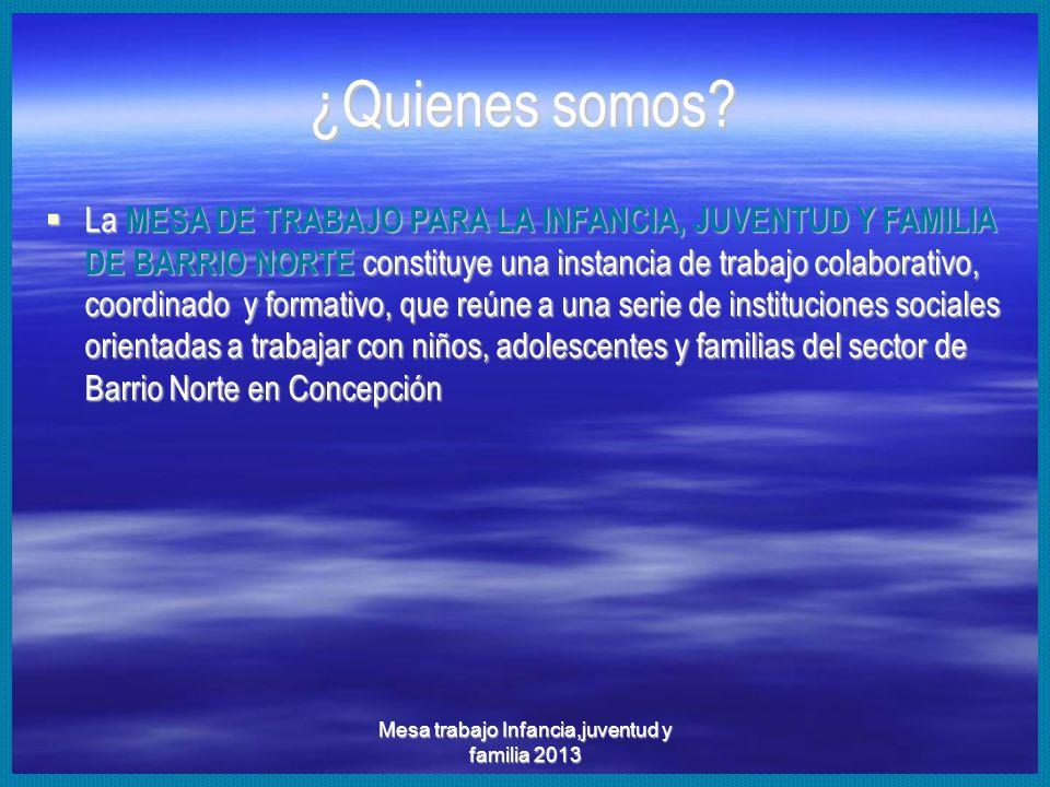 Mesa trabajo Infancia,juventud y familia 2013 Mesa de trabajo por la Infancia, Juventud y familia Barrio Norte 2005-2013