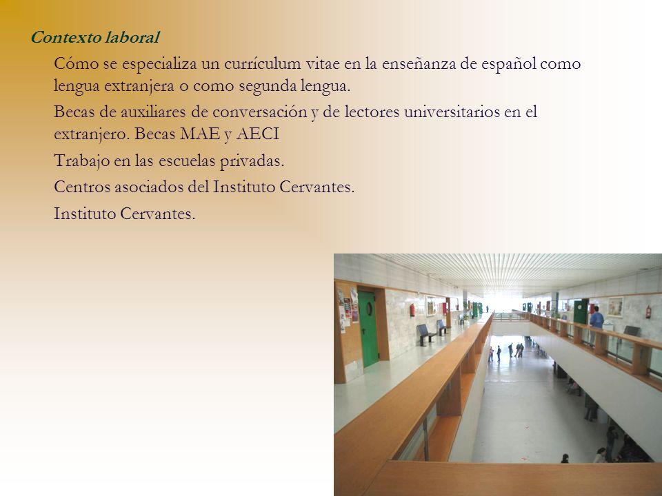 Contexto laboral Cómo se especializa un currículum vitae en la enseñanza de español como lengua extranjera o como segunda lengua. Becas de auxiliares