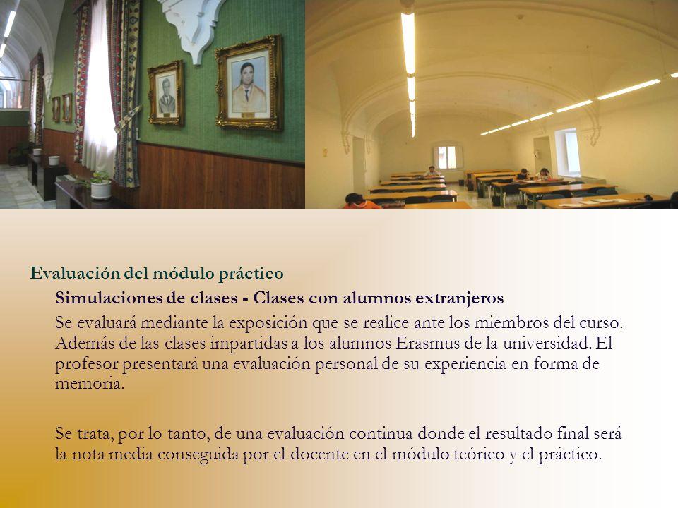Evaluación del módulo práctico Simulaciones de clases - Clases con alumnos extranjeros Se evaluará mediante la exposición que se realice ante los miem