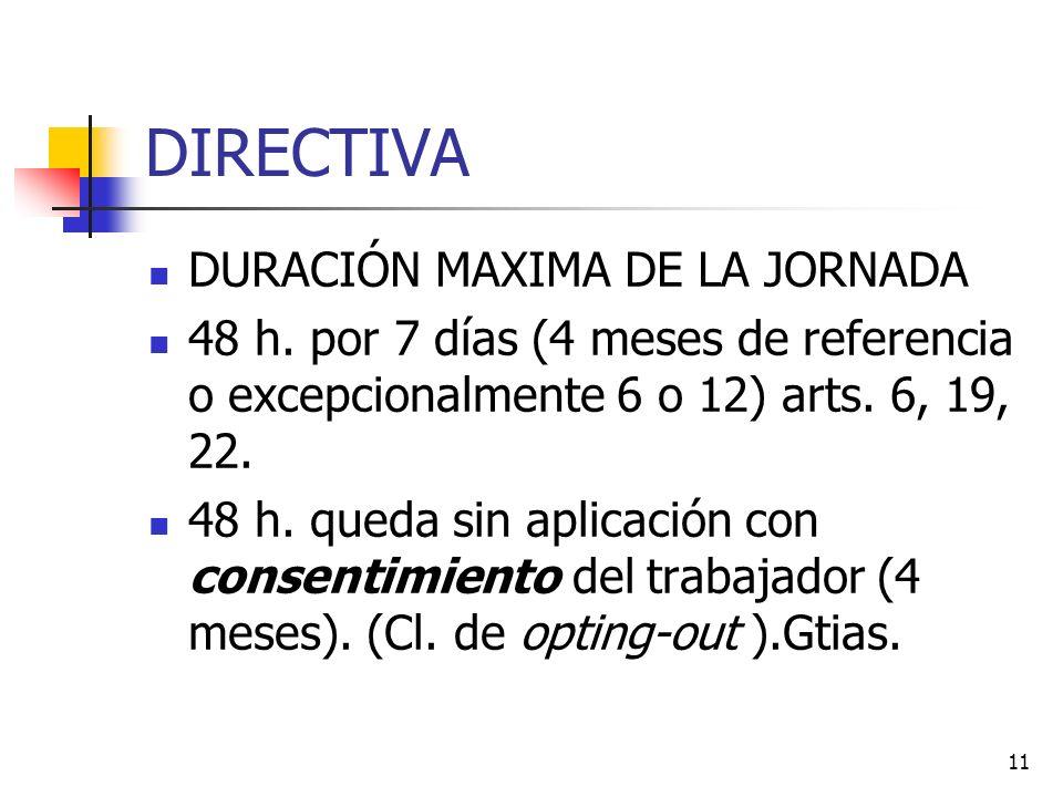 11 DIRECTIVA DURACIÓN MAXIMA DE LA JORNADA 48 h.