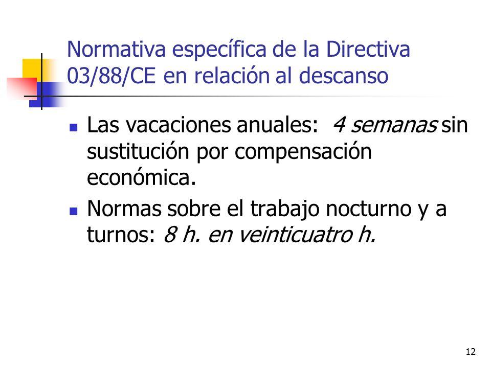 12 Normativa específica de la Directiva 03/88/CE en relación al descanso Las vacaciones anuales: 4 semanas sin sustitución por compensación económica.