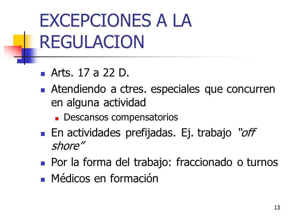 13 EXCEPCIONES A LA REGULACION Arts. 17 a 22 D. Atendiendo a ctres.