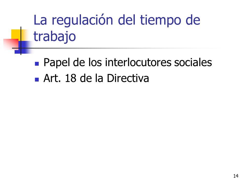 14 La regulación del tiempo de trabajo Papel de los interlocutores sociales Art. 18 de la Directiva