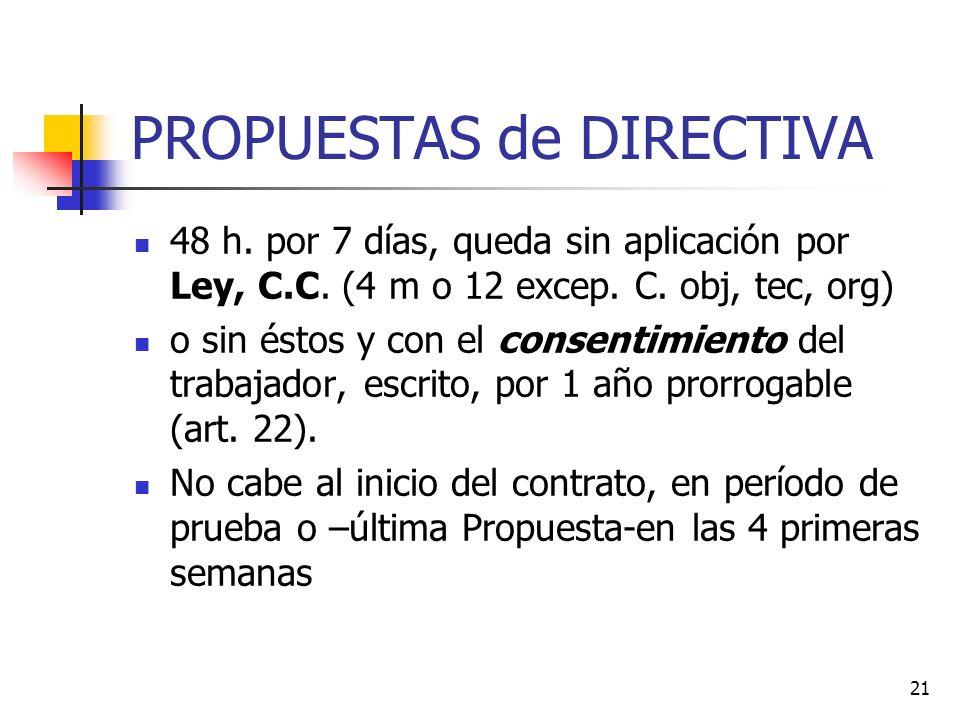 21 PROPUESTAS de DIRECTIVA 48 h. por 7 días, queda sin aplicación por Ley, C.C.