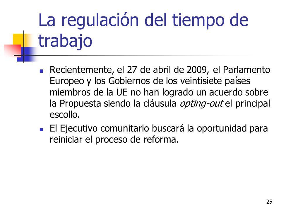 25 La regulación del tiempo de trabajo Recientemente, el 27 de abril de 2009, el Parlamento Europeo y los Gobiernos de los veintisiete países miembros de la UE no han logrado un acuerdo sobre la Propuesta siendo la cláusula opting-out el principal escollo.