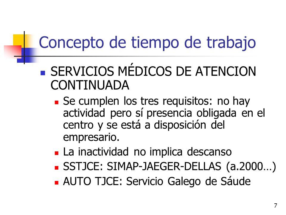 7 Concepto de tiempo de trabajo SERVICIOS MÉDICOS DE ATENCION CONTINUADA Se cumplen los tres requisitos: no hay actividad pero sí presencia obligada en el centro y se está a disposición del empresario.