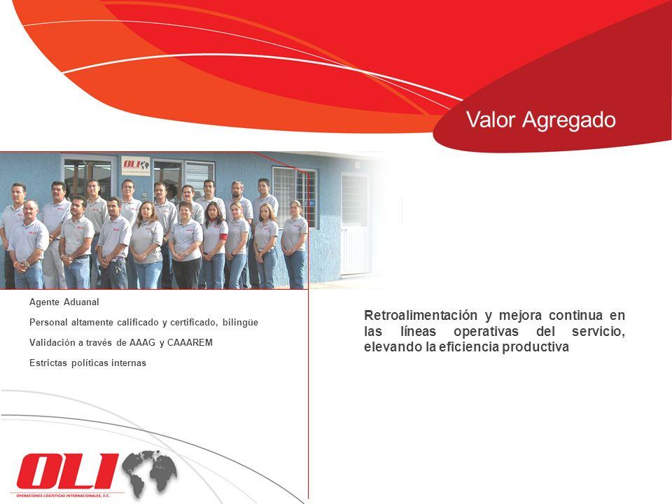 Retroalimentación y mejora continua en las líneas operativas del servicio, elevando la eficiencia productiva Agente Aduanal Personal altamente calific