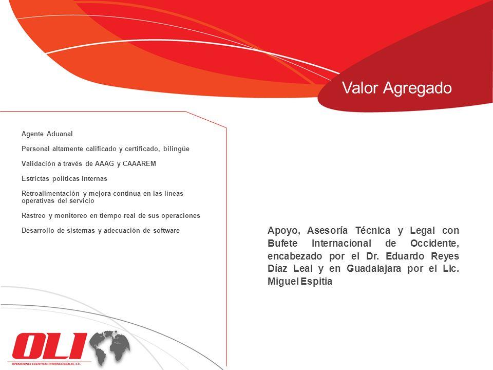 Apoyo, Asesoría Técnica y Legal con Bufete Internacional de Occidente, encabezado por el Dr. Eduardo Reyes Díaz Leal y en Guadalajara por el Lic. Migu