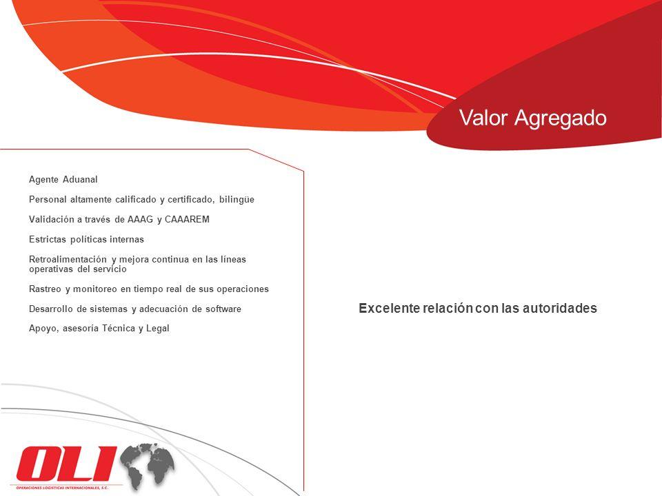 Excelente relación con las autoridades Agente Aduanal Personal altamente calificado y certificado, bilingüe Validación a través de AAAG y CAAAREM Estr