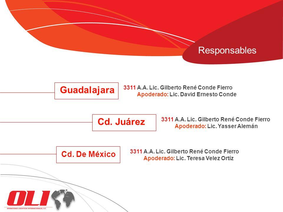 Guadalajara 3311 A.A. Lic. Gilberto René Conde Fierro Apoderado: Lic. David Ernesto Conde Cd. Juárez 3311 A.A. Lic. Gilberto René Conde Fierro Apodera