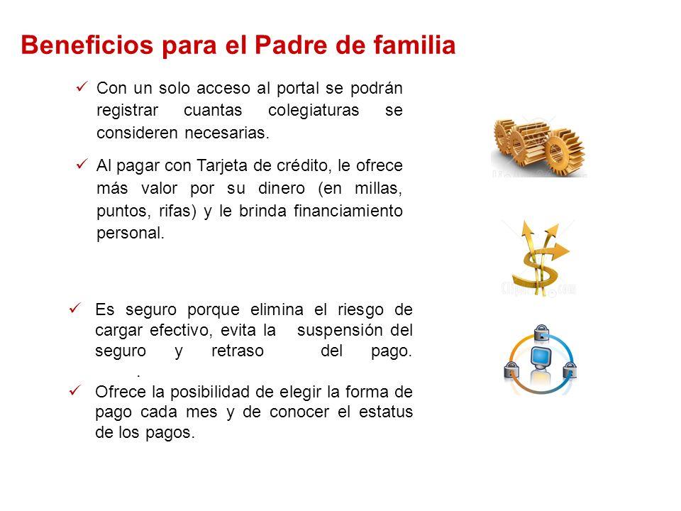 Beneficios para el Padre de familia Automático: Al optar por cargos recurrentes o pagando con su tarjeta de Crédito a través de Internet, recibirá mensajes vía correo electrónico acerca de sus pagos.